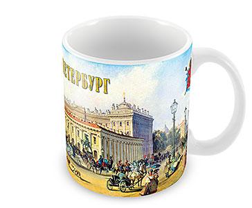 Старый СПб. Невский пр. у Аничкова моста