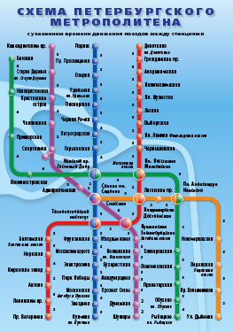 Схема Петербургского метрополитена