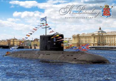 СПб. Подводная лодка у Академии художеств
