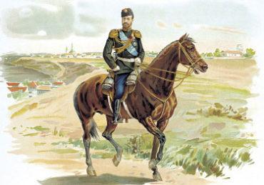 Император НиколайII в форме Драгунского полка