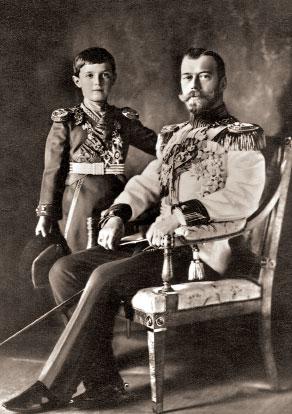 Император Николай II и цесаревич Алексей